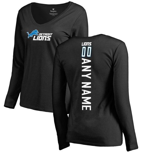 daf0a74eb Women s Detroit Lions Pro Line Black Personalized Backer Long Sleeve T-Shirt